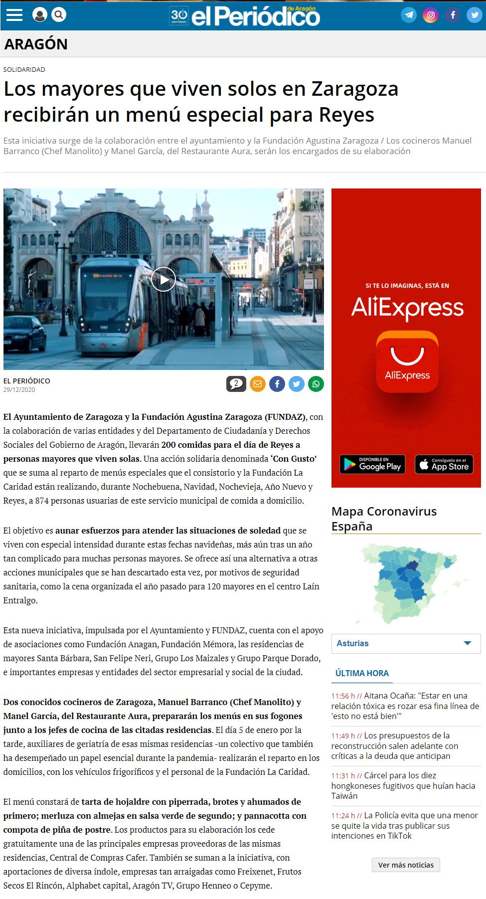 Los mayores que viven solos en Zaragoza recibirán un menú especial p_ - www.elperiodicodearagon.com
